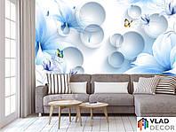 Фотообои Синие цветы с бабочками по Вашим размерам