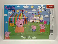 Пазлы Trefl   15шт (31276) 34х23 (Прогулянка парком Свинка Пепа) з рамкою