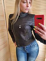 Кожаная куртка женская черная