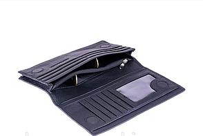Мужской кожаный бумажник на магните (52) black