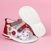 Красные Босоножки на девочку, детские сандалии с закрытой пяткой тм Том р.22,23,24, фото 3