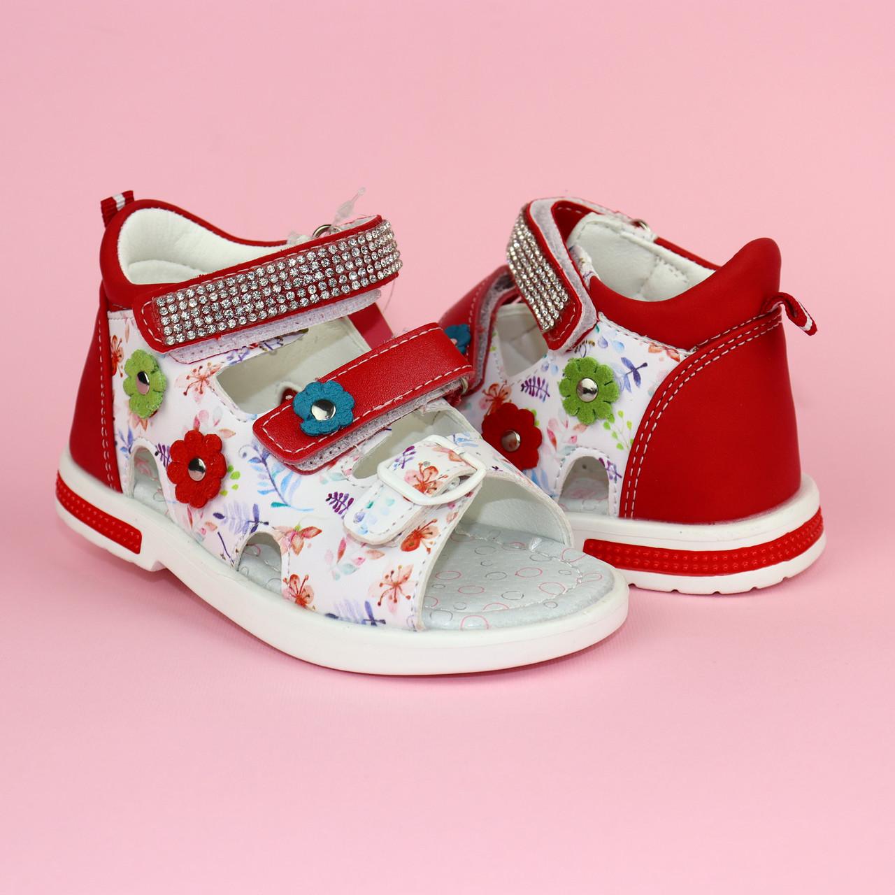 Красные Босоножки на девочку, детские сандалии с закрытой пяткой тм Том р.22,23,24