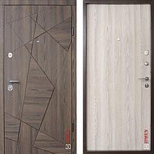 Дверь входная металлическая ZIMEN Aztec, Optima, Kale, Дуб галифакс шоколад / Молочный, 850x2050, правая