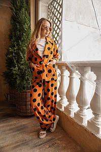 Женский брючный костюм оверсайз в крупный горох размеры 42-44, 46-48 оранжевый