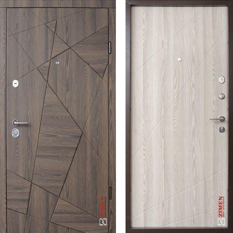 Дверь входная металлическая ZIMEN Aztec, Optima, Kale, Дуб галифакс шоколад / Молочный, 950x2050, левая