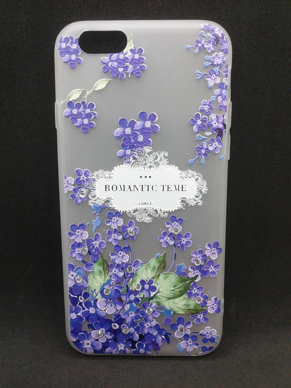 Чехол Samsung J5/J530 (2017) Silicon YOTOO фиолетовые цветы со стразами
