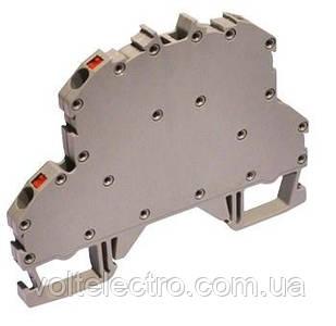 Прохідна клема пружинна 2-х ярусне на DIN-рейку OPK 4 мм2 (сіра)