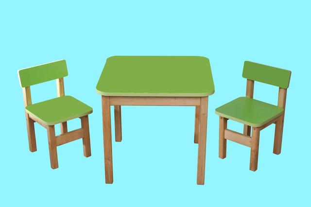 Детский  деревянный набор, стол и 2 стульчика, салатовый