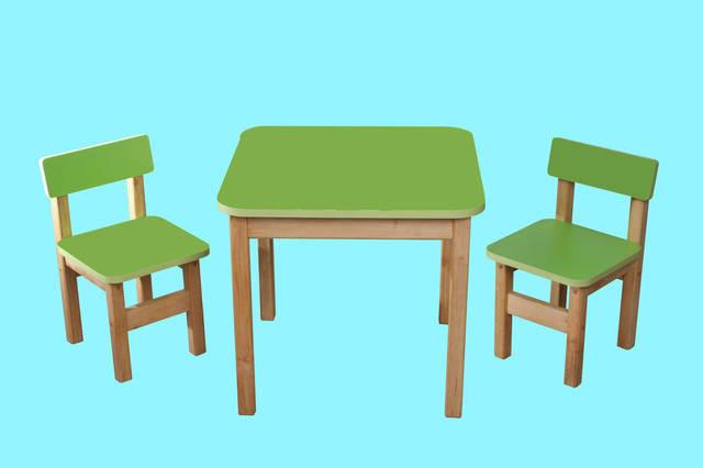 Детский  деревянный набор, стол и 2 стульчика, салатовый, фото 2
