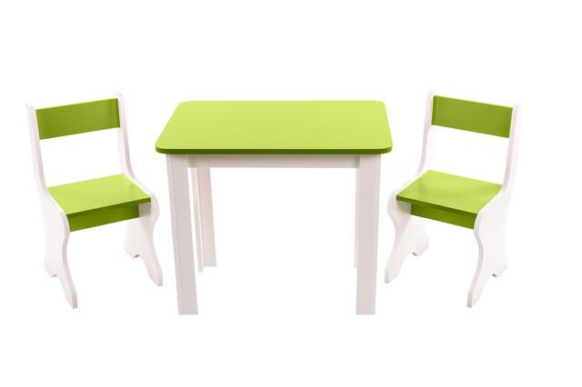 Детский набор столик и 2 стульчика ЛДСП, салатовый