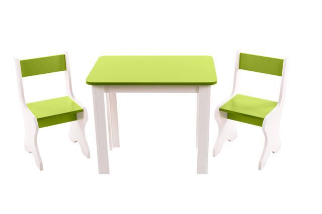 Детский набор столик и 2 стульчика ЛДСП, салатовый, фото 2
