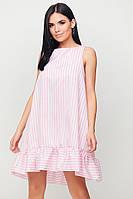 Женское платье из рубашечной ткани в крупную полоску