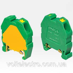 Міні клема модульна ONKA, пружинна серії МРК на DIN-рейку, перетин 2,5, 24 А, 750 В, жовто-зелена