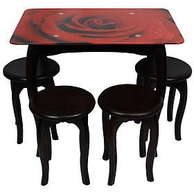 """Обеденный столовый комплект (стеклянный стол и 4 табуретки из дерева) """"Красная роза"""" с ножками кабриоль"""