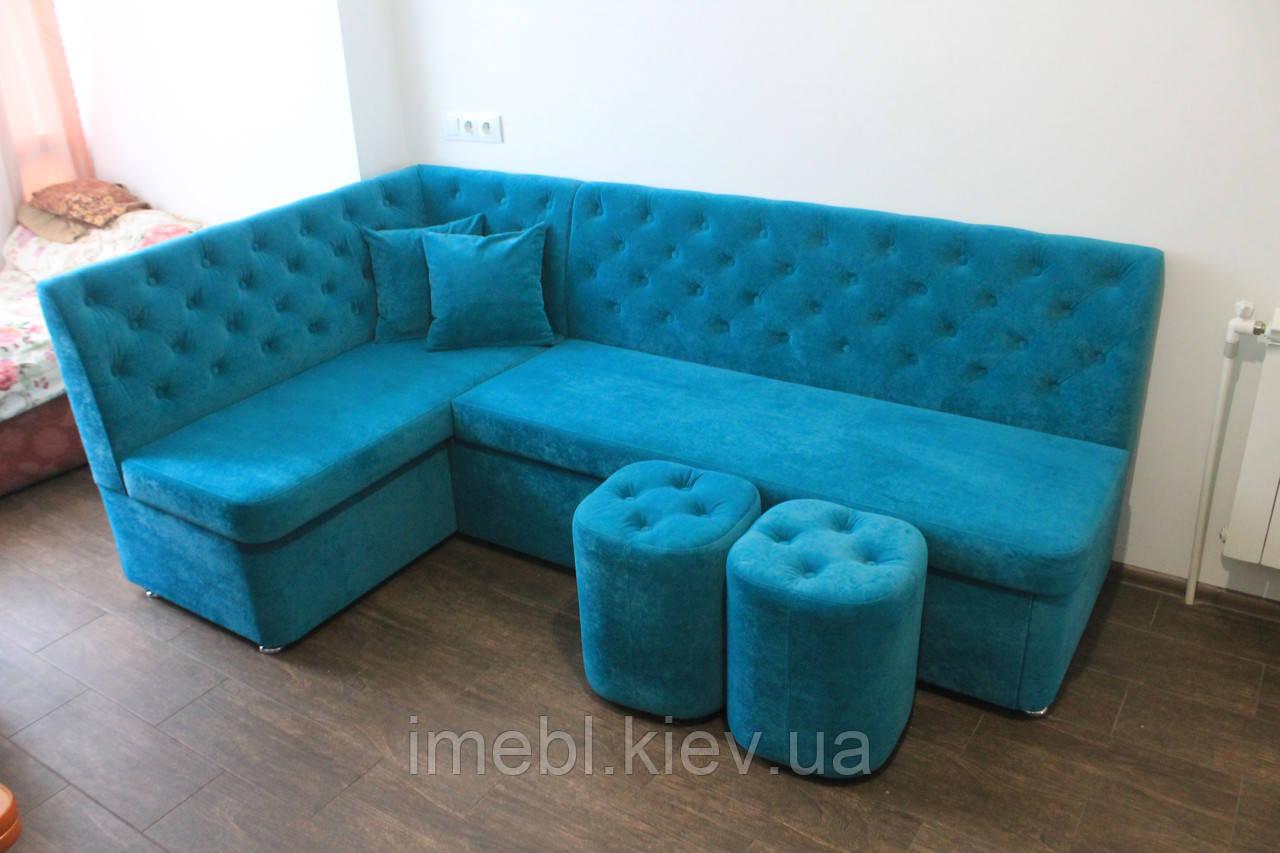 Кутовий кухонний диван зі спальним місцем (Блакитний)