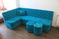 Кутовий кухонний диван зі спальним місцем (Блакитний), фото 1
