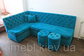Угловой кухонный диванчик со спальным местом (Голубой)