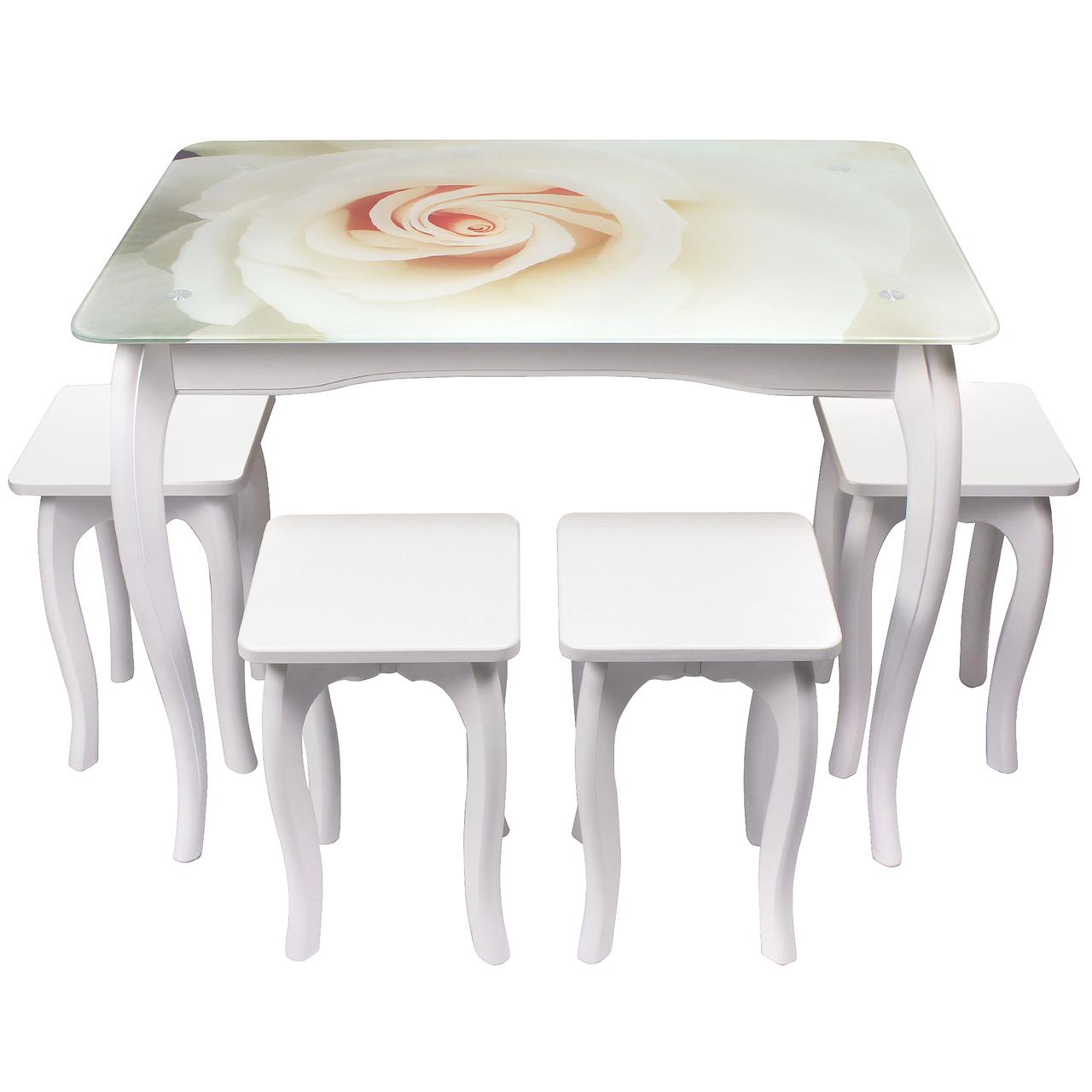 """Обеденный столовый комплект (стеклянный стол и 4 табуретки из МДФ) """"Белая роза"""" с ножками кабриоль"""