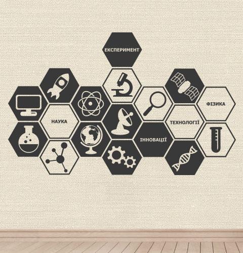Наклейка на стену Физика, наука, эксперимент (соты, декор школы, нуш)