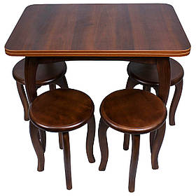 """Обеденный столовый комплект (стол и 4 круглых табурета) """"Орех"""" с ножками кабриоль"""