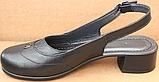 Закриті босоніжки на повну ногу шкіряні на підборах від виробника модель БД14, фото 3