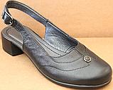 Закриті босоніжки на повну ногу шкіряні на підборах від виробника модель БД14, фото 2