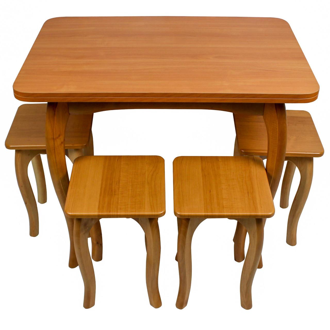 """Обеденный столовый комплект (стол и 4 табуретки из МДФ) """"Ольха"""" с ножками кабриоль"""
