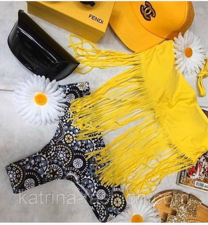 Жіночий роздільний купальник з бахромою жовтий топ і трусики з орнаментом