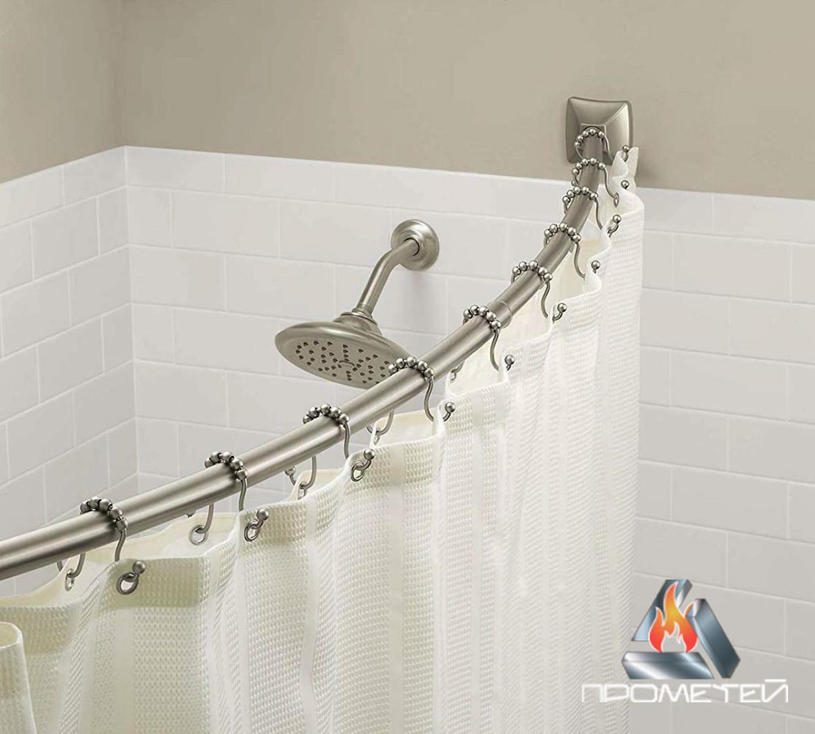 Радіусний / напівдугою карниз з нержавійки для ванної, діаметр 20мм, 25мм, 30мм, 32мм.