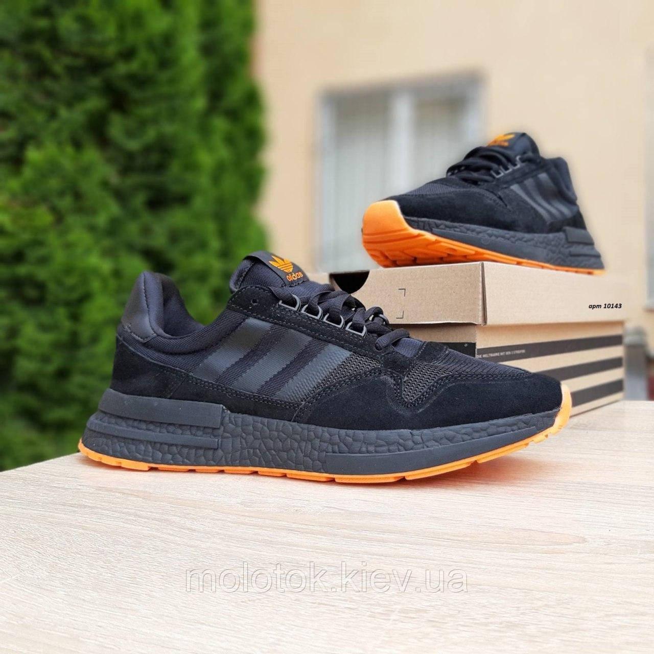 Мужские кроссовки в стиле Adidas  ZX 500 чёрные с оранжевым