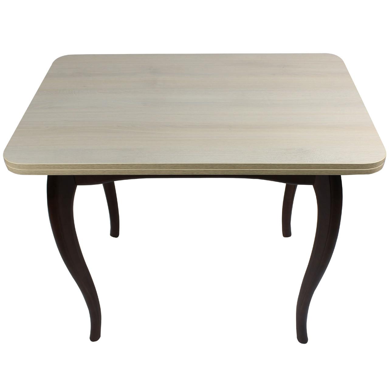 """Обеденный раскладной стол """"Дуб шамони"""" тёмный с ножками кабриоль"""