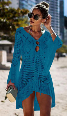 Туника на пляж женская ажурная вязаная синий