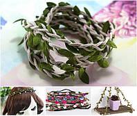 (1 метр) Тесьма шнур косичка с листьями Цвет шнура - Льняной, фото 1