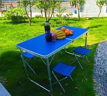 Стіл розкладний для пікніка + 4 стільці (в кольорах), посилений, отвір для парасольки