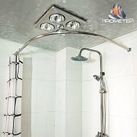 Радиусный / полудугой карниз одинарный из нержавейки для шторки в ванную и для душа, диаметр 20мм, 25мм, 30мм,