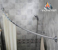 Радиусный / дуговой одинарный карниз из металла - сантехника для шторки в душ, диаметр 20мм, 25мм, 30м, 32мм