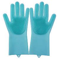 Рукавицы силиконовые для мытья ПАРА голубые