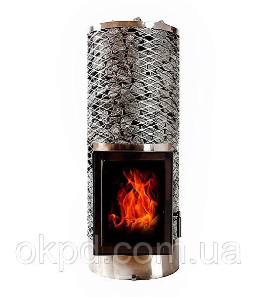 Дров'яна піч для лазні та сауни IKI Kivi JR зі скляною дверкою (ліва)