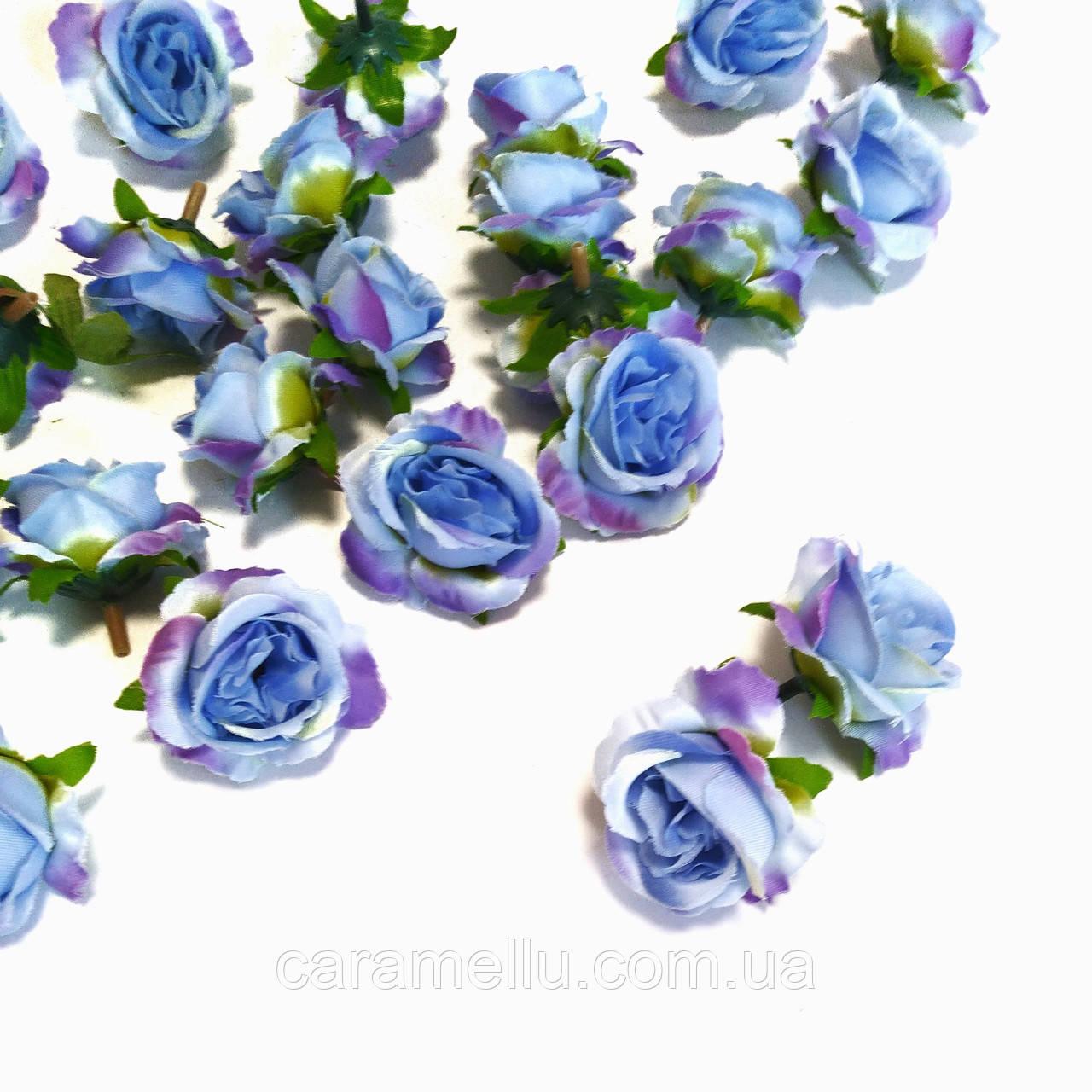 Розочка прованс.  4,5см. Цвет сиренево-голубой