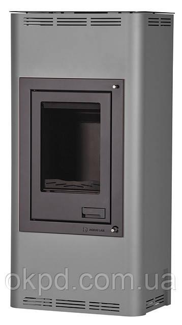 Отопительная печь-камин длительного горения AQUAFLAM 12 (водяной контур, ручная рег, серый)