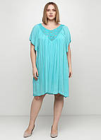 Бирюзовое платье клеш Made in Italy однотонное, L-XL, XL-2XL