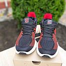 Чоловічі кросівки в стилі Adidas чорні з червоним, фото 2