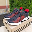 Чоловічі кросівки в стилі Adidas чорні з червоним, фото 3
