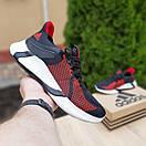 Чоловічі кросівки в стилі Adidas чорні з червоним, фото 5