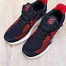 Чоловічі кросівки в стилі Adidas чорні з червоним, фото 7