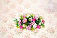 Гребень с цветами и зеленью бело-розовый, фото 1