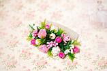 Гребень с цветами и зеленью бело-розовый, фото 2