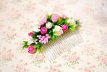 Гребень с цветами и зеленью бело-розовый, фото 3