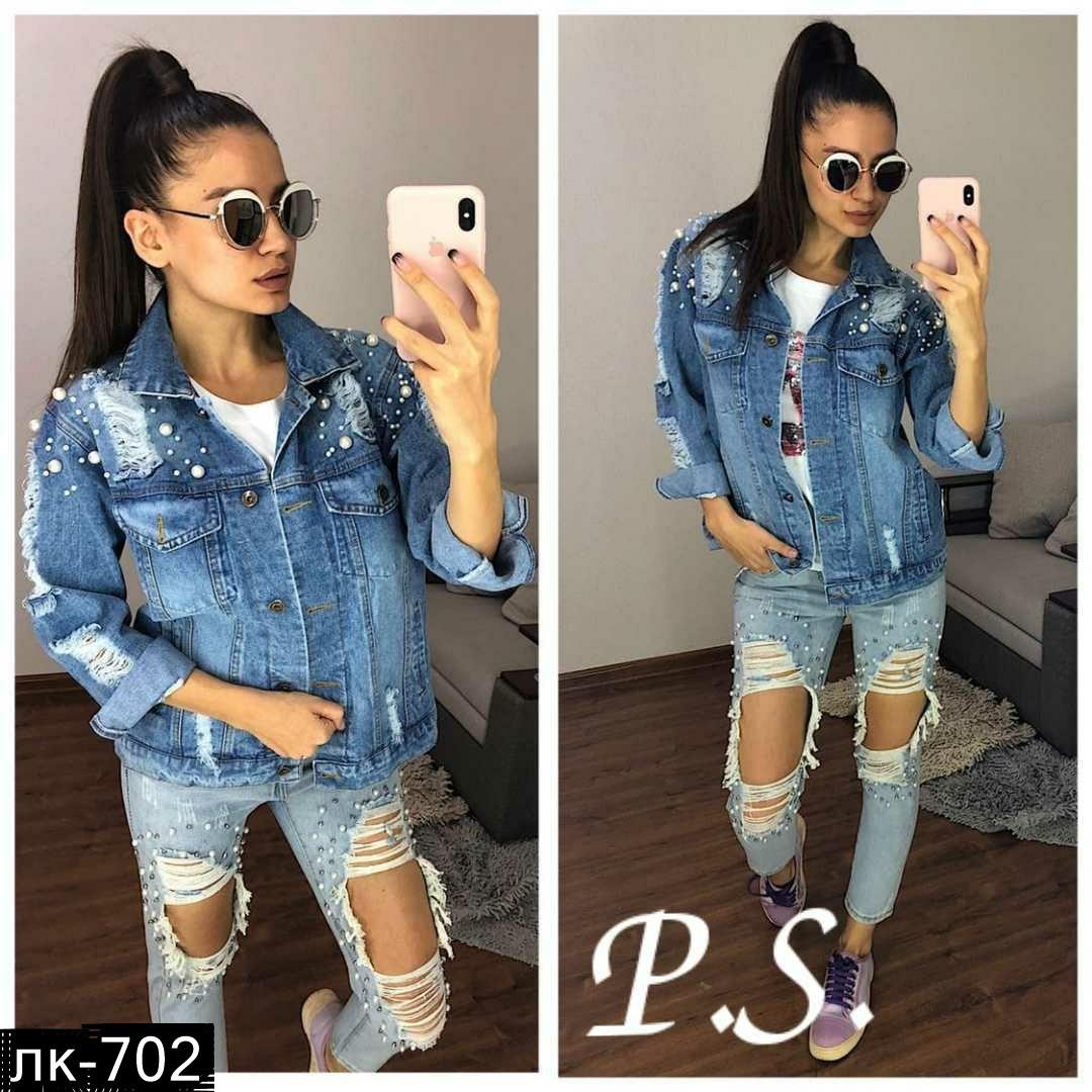 Женская джинсовая куртка с жемчугом