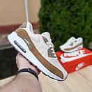 Чоловічі кросівки в стилі Nike Air Max 90 білий з коричневим, фото 3